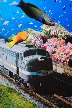 Trains Across the Sea, John Turck Collage