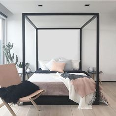 White Bedroom Design Ideas and Decorations - There are many individuals who love white bedroom design thoughts. That is the reason they utilize this sort of topic for their main bedroom thought. Monochrome Bedroom, White Bedroom Design, Small Bedroom Designs, Bedroom Black, Black Bedding, Romantic Bedroom Decor, Trendy Bedroom, Modern Bedroom, Home Bedroom
