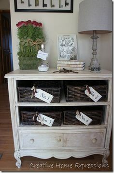 Vintage dresser redo by Creative Home Expressions~ great idea for dressers with damaged drawers!