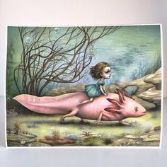 El jinete de Axolotl - surrealismo pop - 11 x 14 Fine Art Print por Mab Graves