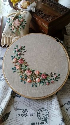 #embroidery #silkribbonembroiderypatterns #embroidery Brazilian Embroidery Stitches, Crewel Embroidery Kits, Embroidery Flowers Pattern, Silk Ribbon Embroidery, Hand Embroidery Designs, Vintage Embroidery, Cross Stitch Embroidery, Embroidery Ideas, Embroidery Supplies