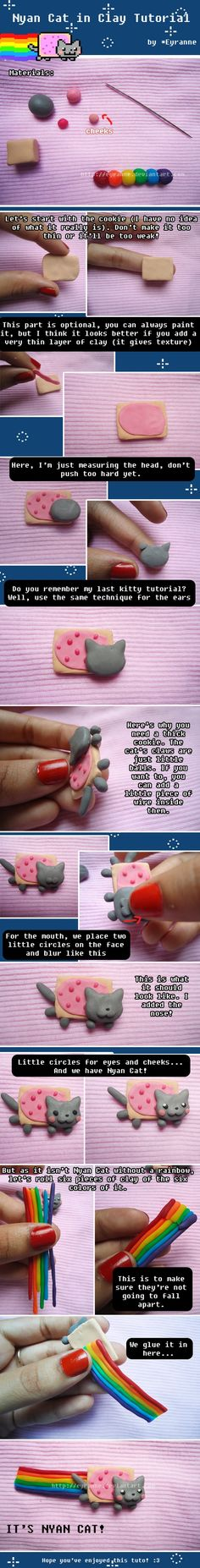 #kawaii Nyan Cat clay tutorial...@Juliana C. you need to make this into a necklace from your polymer clay for me!!! :D