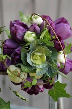 Purple & Green, great combo, Here the Cabbage Rosettes & grapevine wrap, double down on a au natural feeling !