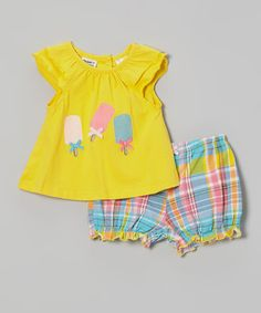 Yellow Ice Cream Tank & Madras Shorts - Infant, Toddler & Girls by Peanut Buttons #zulily #zulilyfinds