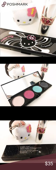 MAC Hello Kitty Too Dolly Eyeshadow Palette Super rare eyeshadow quad by MAC for Hello Kitty during a limited edition release. Colors and finish from left to right: Yogurt (matte), Romping (frost), Too Dolly (frost), and Stately Black (lustre). The palette has been used a few times for swatches but each pan is very full with product. Does not come with original box. MAC Cosmetics Makeup Eyeshadow