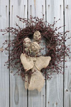 Burlap Easter Eggs Primitive Easter Wreath Free by FloralsFromHome, $60.00