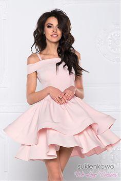 ff8e48e586 BLANCHE - Podwójnie rozkloszowana sukienka bez ramion różowa Wiosenne  Sukienki