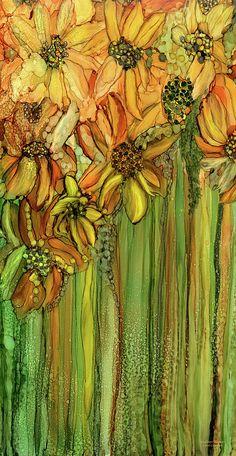 Sunflower Canvas Print - Wild Sunflower Garden by Carol Cavalaris art anime Wild Sunflower Garden Canvas Print / Canvas Art by Carol Cavalaris Wild Sunflower, Sunflower Canvas, Sunflower Garden, Alcohol Ink Crafts, Alcohol Ink Painting, Alcohol Ink Art, Arte Floral, Motif Floral, Silk Painting
