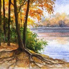 Fogy Autumn Morning, Miniature watercolor