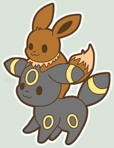 Squishy Eevee and Umbreon :3 by x-SquishyStar-x