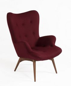 Grant Featherston Style Lounge Chair in Burgundy