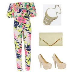 Jump straight into the latest flower-power trend in this gorgeous statement jumpsuit. With its cool colour pop florals, this number will blossom in your wardrobe this SS. The off-the-shoulder design makes it an instant style classic this season. Simply add a pair of chic stiletto heels and a plain clutch for instant glam appeal. Playsuits, Jumpsuits, Colour Pop, Color, Clothes Combinations, Playsuit Romper, Flower Power, Classic Style, Off The Shoulder