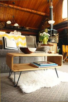 See these plans for how you can make your own mid century modern coffee table with hairpin legs, inspired by a set of thrifted cubbies.