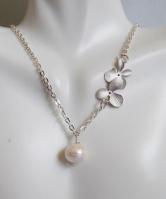 Fresh Water Pearl And Orchid Flower necklace- Wedding Jewelry- Bridal Jewelry