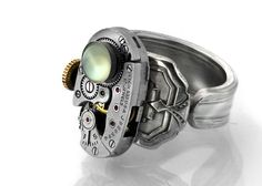 Steampunk Ring, Green Chalcedony & Vintage Elgin Watch Mechanism