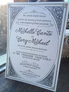 Gold + Gray letterpress wedding invitation.