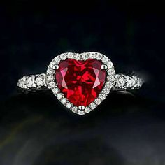 Ct Heart Cut Red Ruby & Diamond Halo Engagement Ring White Gold Over Silver Promise Rings, Sterling Silver Wedding Rings, Promise Rings For Her, Silver Engagement Rings, Halo Diamond Engagement Ring, Wedding Engagement, Heart Wedding Rings, White Gold, Gold Jewelry