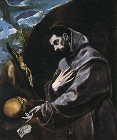 """El Greco: """"St. Francis in Prayer"""",1585. ( Joslyn Art Museum,Omaha, Nebraska, USA.) https://www.joslyn.org/"""