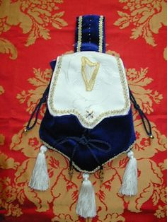 Regal Blue Velvet Pouch, Hand Embroidered with a Goldwork Harp