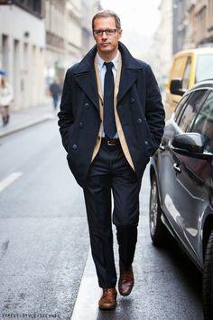 Man in elegant navy pea coat, mens fashion, winter 2013, coats