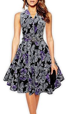 1950s Style Belted Floral Retro Flare Dress Swing Dress (...