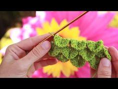 Cómo hacer el punto cocodrilo en ganchillo   How to crocodile stitch crochet - YouTube