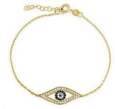 Bling Jewelry 925 Silver Gold Plated Simulated Sapphire Cz Evil Eye Bracelet.