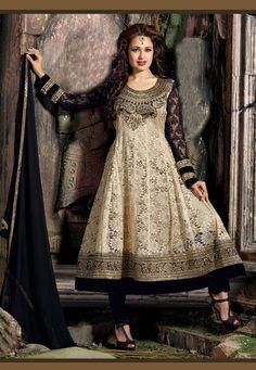Beige Net Jacquard Anarkali Churidar Kameez