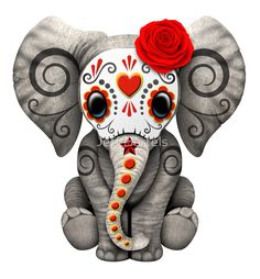 Red Day of the Dead Sugar Skull Baby Elephant | Jeff Bartels