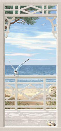 Photo Background Images, Paint Background, Beautiful Landscape Wallpaper, Beautiful Landscapes, Mural Painting, Mural Art, Beach Porch, Beach Wall Murals, Window Mural