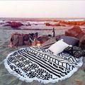 2015 Nuevo Verano de Gran Microfibra Impresa Toalla de Playa Toallas de Playa Con Borla Círculo Redondo Servilleta Plage de Envío gratis