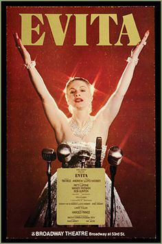 "Opening Night of Andrew Lloyd Webber's musical ""Evita"" on Broadway, starring Patti LuPone as Evita and Mandy Patinkin as Che. Song ""The Money Kept Rolling In. Broadway Plays, Broadway Theatre, Musical Theatre, Broadway Shows, Theatre Geek, Broadway Posters, Movie Posters, Wall Posters, Evita Musical"