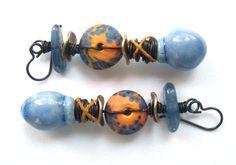 Scorched Earth Dutch Blue Bobble Drops, Yellow Orange Blue Lampwork Disc Blue Kyanite Niobium Ear Wires Dangle Earrings