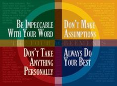 Be impeccable with your word: have integrity, be honest, take responsibility, stop blaming, use your words to built and not destroy, there is power of life and death in your words, so use them wisely and cautiously... ~~Angela