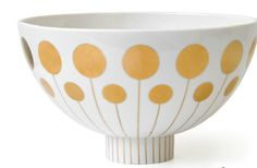 We love this modern take on mid-century atomic spaceage prints in shiny gold    http://uk.jonathanadler.com/Futura-Large-Bowl