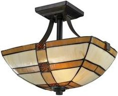 "14""w Brisdol 2-Light Semi Flush Fixture Dark Bronze"