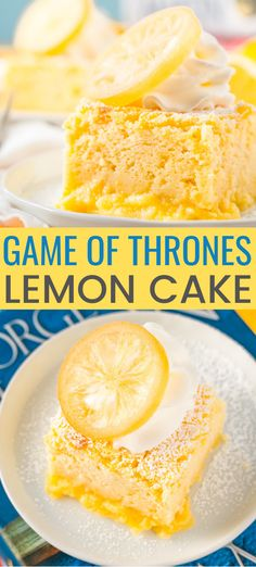 Inspired by Sansa& favorite dessert in Game of Thrones, these Lemon Cakes are a delicious and zesty magic cake that separates into different textured layers as it bakes! Lemon Curd Dessert, Lemon Desserts, Lemon Recipes, Köstliche Desserts, Delicious Desserts, Dessert Recipes, Lemon Cakes, Lemon Magic Cake Recipe, Homemade Lemon Cake