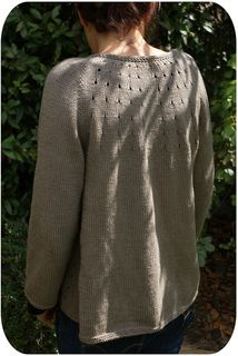 Vitamin D by Heidi Kirrmaier This swingy cardigan is worked from the top down in one piece. The yoke involves classic raglan shaping for the sleeves, and radial eyelet increases for the back. The rounded front edges are shaped with more eyelet increases, as well as short rows. The pattern includes detailed instructions for the short rows;