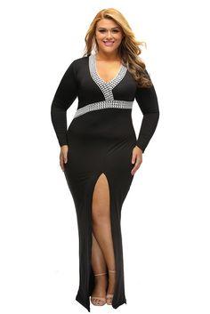 c643380ad495f Black Plus V Neck High Slit Maxi Dress Plus Size Maxi Dresses