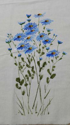 Saree Painting, Fabric Painting, Fabric Art, Watercolor Cards, Watercolor Flowers, Watercolor Paintings, Sakura Painting, Beach Rock Art, Hand Painted Fabric