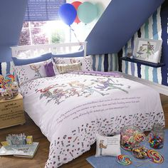 The Roald Dahl Willy Wonka collection supplied by Peter Betteridge. Create a magical bedroom with this Willy Wonka bedlinen; a must for any fan of Roald Dahl's classic,. Roald Dahl, Single Duvet Cover, Duvet Cover Sets, Charlie Chocolate Factory, Magical Bedroom, Double Duvet Set, Double Quilt, Childrens Beds, Children