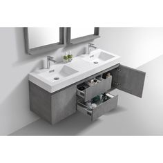 Floating vanity in cement Gray color, one of our best selling collection. Bathroom Vanity, Contemporary Bathroom Vanity, Modern Bathroom, Bathroom Model, Vanity, Floating Vanity, Shower Cabin, Steam Showers Bathroom, Bathroom