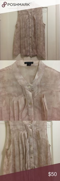 Soft-pink, Theory blouse So sweet. Great shell for under suits or pair with white skinny jeans. Gorgeous with spaghetti-strap tank underneath. Theory Tops Blouses