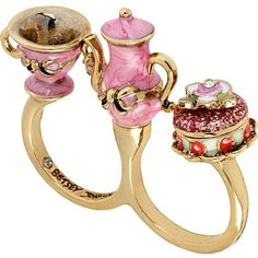 Betsey Johnson Paris Teapot Cup Two Finger Ring ($45) ❤ liked on Polyvore featuring jewelry, rings, accessories, pink, betsey johnson, 2 finger ring, pink jewelry, wide rings, pink ring and double-finger ring