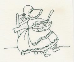 Christmas Sunbonnet Sue - Vintage Redwork - Machine Embroidery designs at Splinters & Threads