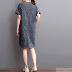 Plus size denim dress summer denim sundress short sleeveThis dress is made of cotton linen fabric, soft and breathy, suitable for summer, so loose dresses to make you comfortable all the time.Measurement:  Size M Length front 84cm / 32.76
