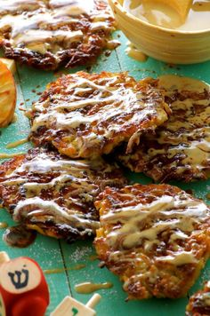 Latkes with Tahini Silan Sauce. Can you think of a better marriage between two traditions? An Ashkenaz Hanukkah favorite paired with the Middle Eastern Sephardic flavors of dates and tahini. Whole 30 Recipes, Apple Recipes, Sweet Recipes, Holiday Recipes, Kosher Recipes, Gourmet Recipes, Healthy Recipes, Kosher Food, Tahini Recipe