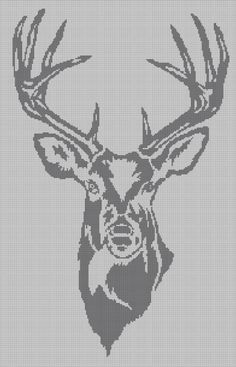 Grey Deer head silhouette cross stitch pattern in pdf