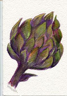 Original  Purple Artichoke Watercolor Painting by SharonFosterArt, $12.00