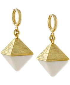Vince Camuto Gold-Tone and Stone Pyramid Earrings